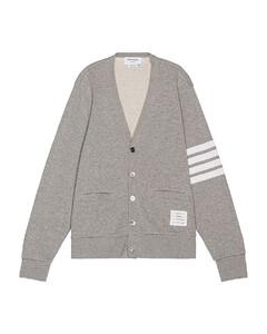 V Neck Cardigan in Gray,Stripes