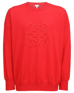 Logo Embroidery Knit Wool Blend Sweater