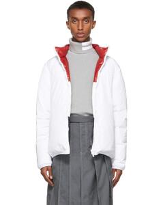 白色&多色拉链双面羽绒夹克