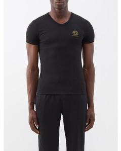 Medusa-logo V-neck cotton-blend T-shirt