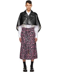 黑色&粉色两件式豹纹披肩大衣