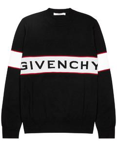 Black logo-intarsia wool jumper