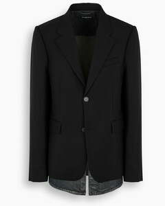 Black single-breasted blazer with denim detail