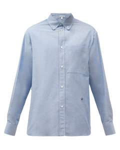 Anagram-embroidered cotton-chambray shirt