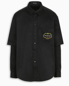 Black Double Sleeve Fruit Logo shirt