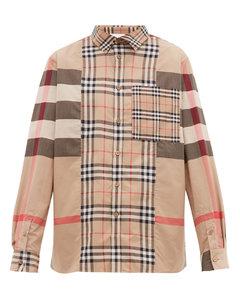 Patchwork stretch-cotton poplin shirt