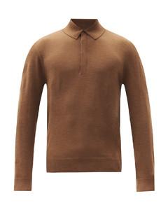 Signature-stripe long-sleeve wool polo shirt