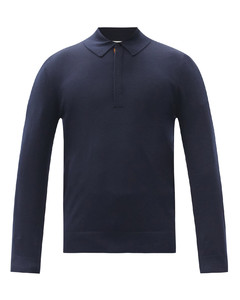 Long-sleeved merino-wool polo shirt