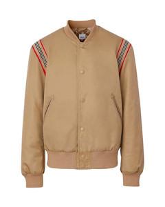 Men's Brown Icon Stripe Bomber Jacket