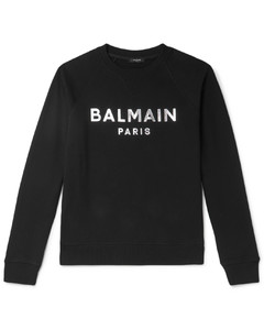 Slim-Fit Metallic Logo-Print Loopback Cotton-Jersey Sweatshirt