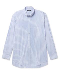 Oversized Button-Down Collar Logo-Print Striped Cotton Shirt