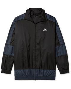 Oversized Logo-Print Panelled Shell Jacket