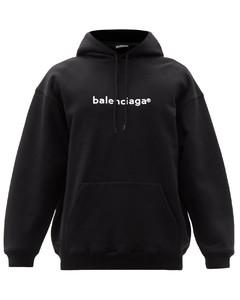 Copyright logo-print cotton hooded sweatshirt