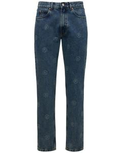 Cotton Denim Straight Leg Jeans