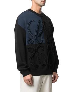 braided logo panelled jumper