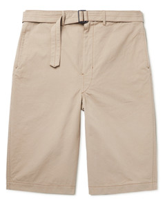 Belted Cotton-Canvas Shorts