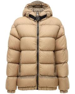 Almond Nylon Down Jacket W/ Turtle Neck