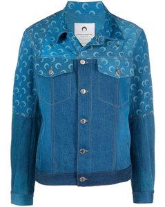 Ocean blue cotton moon print denim jacket