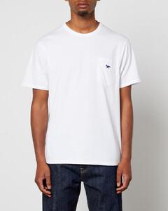 Navy Fox Patch Classic Pocket T-Shirt - White