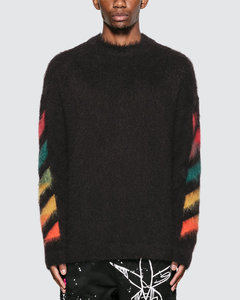 Diag Brushed Mohair Crewenck Sweater