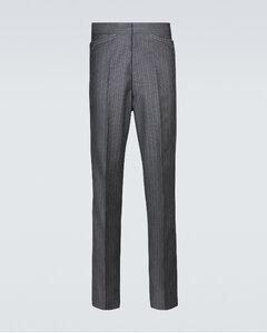 羊毛海马毛条纹西装裤装