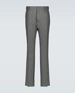 法兰绒细条纹裤装