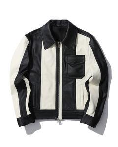 Bicolour leather jacket