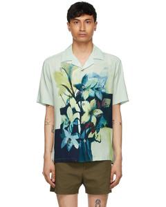 绿色印花短袖衬衫