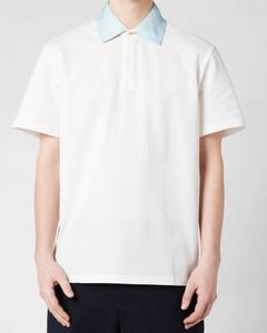 Men's Contrast Collar Polo Shirt - Off White