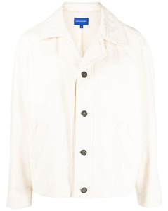 Oversized Button-Down Collar Bib-Front Gingham Cotton Shirt