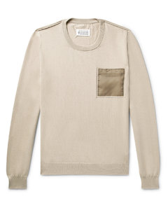 Shell-Trimmed Cotton Sweater
