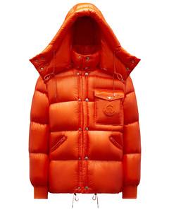 Orange padded down jacket