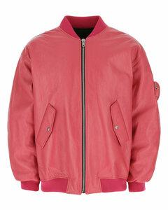 Fuchsia leather padded bomber jacket