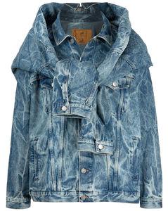 hybrid acid-wash denim jacket