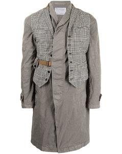 格纹西式马甲分层式外套