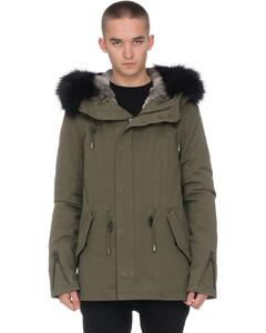 Rex Rabbit Lined Parka - Army/Black Fox Fur