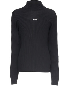 Micro Logo High Neck Knit Pullover Sweater - Black