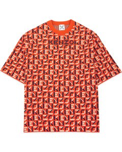 Sport Short Sleeve Monogram Jacquard Pullover Sweater - Deep Orange