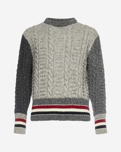 Color-block cable-knit wool and mohair sweater