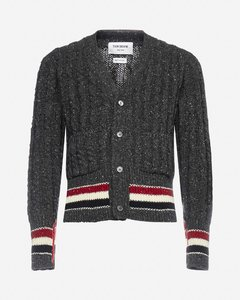 Cable-knit wool and mohair cardigan
