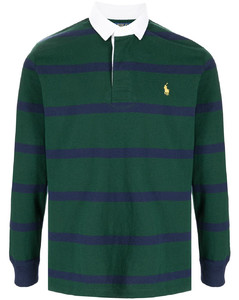 embroidered logo striped rugby shirt