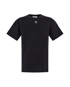 Black cotton t-shirt with moon print