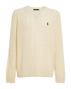 Cable knit wool and cashmere blend sweater