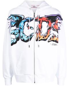Ecofuturist-printed Half-zip Sweatshirt