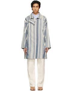 蓝色&白色条纹大衣