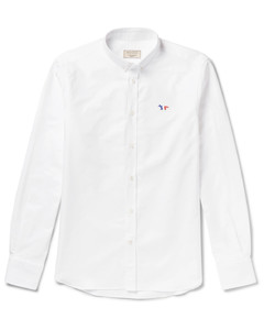 Slim-Fit Button-Down Collar Logo-Appliquéd Cotton Oxford Shirt