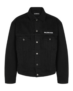 Crew black embroidered denim jacket