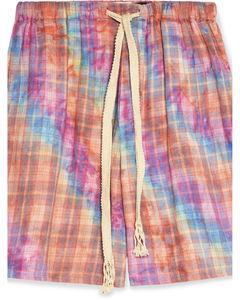 Paula's Ibiza Tie-Dyed Checked Cotton Drawstring Shorts