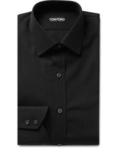 Black Slim-Fit Cotton-Poplin Shirt