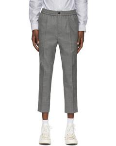 灰色弹性羊毛长裤